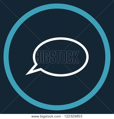 Hint Cloud vector bicolor icon. Image style is a flat icon symbol inside a circle, blue and white colors, dark blue background.