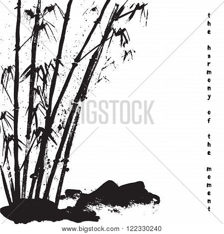 Watercolor background with bamboo and stones. White background. Stock vector.