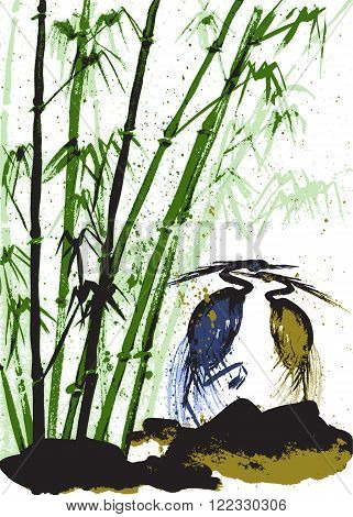 Watercolor background with bamboo and herons. White background. Stock vector.
