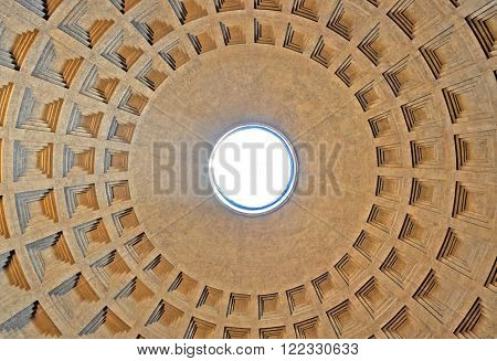 The Circular Dome Of The Pantheon. Rome, Italy