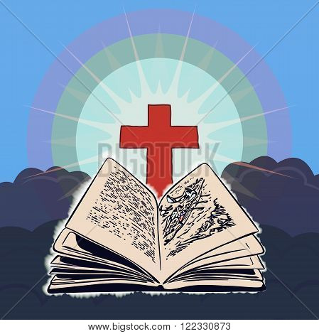 Open Bible with Cross in the blue sky