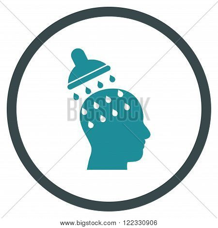 Brain Washing vector bicolor icon. Image style is a flat icon symbol inside a circle, soft blue colors, white background.