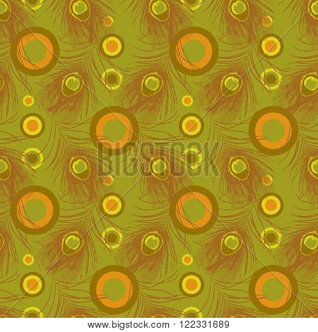 Seamless pattern with peacock feathers and concentrated circles. Stock vector illustration.