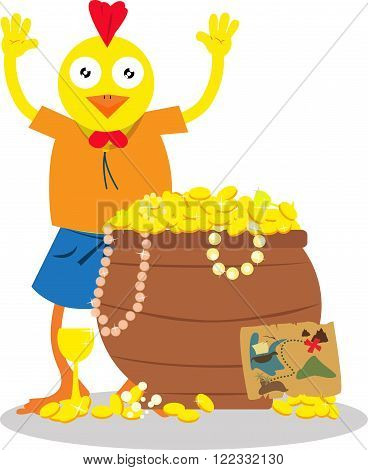 Young explorer chicken found a chest with full of gold.