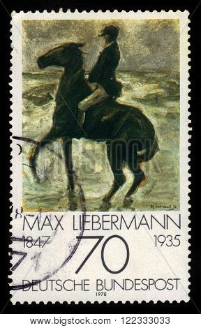 GERMANY - CIRCA 1978: a stamp printed in Germany shows rider at the beach painting by Max Liebermann, german impressionist painter and printmaker, series german impressionism, circa 1978