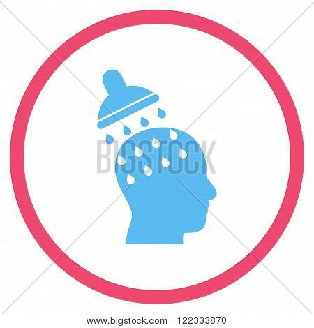 Brain Washing vector bicolor icon. Image style is a flat icon symbol inside a circle, pink and blue colors, white background.