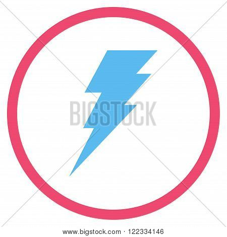Execute vector bicolor icon. Image style is a flat icon symbol inside a circle, pink and blue colors, white background.