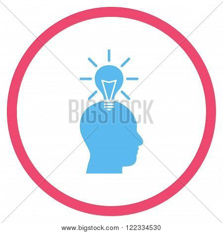 Genius Bulb vector bicolor icon. Image style is a flat icon symbol inside a circle, pink and blue colors, white background.