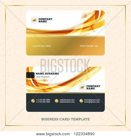 Creative Golden Business Visiting Card Vector Design Template. Vector Illustration. Stationery Desig