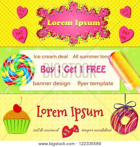 Set of vector bakery banners, advertisement flyers. Colourful bakery donut, ice cream, muffins and lollies flyers or website headers. Banner, flyer design templates for bakery and coffee shop