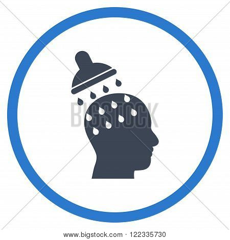 Brain Washing vector bicolor icon. Image style is a flat icon symbol inside a circle, smooth blue colors, white background.