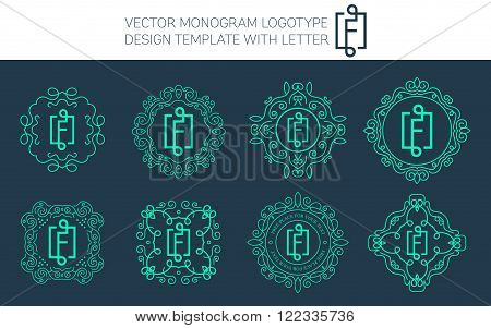 Vector monogram logo set with letter F. You can use in royal floral monogram design logo. Creative art monogram of logo ornament. Design vector illustration of letter F. Floral monogram logo style.