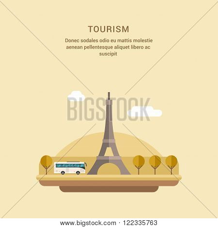 Tourism Concept Flat Style Vector Illustration. The Eiffel Tower on the Champ de Mars in Paris France