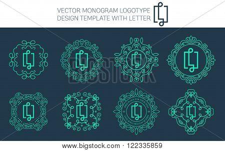 Vector monogram logo set with letter L. You can use in royal floral monogram design logo. Creative art monogram of logo ornament. Design vector illustration of letter L. Floral monogram logo style.