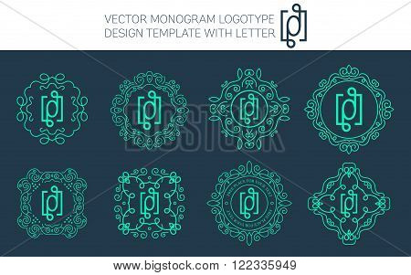 Vector monogram logo set with letter O. You can use in royal floral monogram design logo. Creative art monogram of logo ornament. Design vector illustration of letter O. Floral monogram logo style.