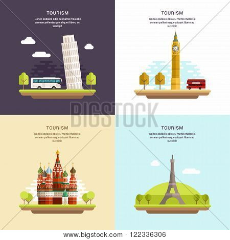 Set of Tourism Concept Flat Style Vector Illustrations. Tower of Pisa Big Ben Saint Basils Cathedral The Eiffel Tower