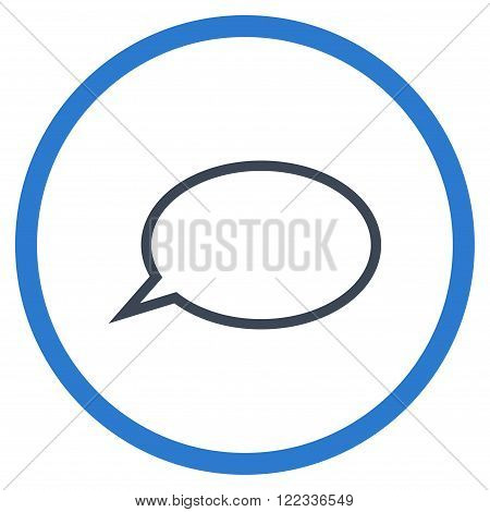 Hint Cloud vector bicolor icon. Image style is a flat icon symbol inside a circle, smooth blue colors, white background.