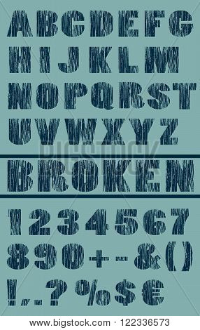 cector typeset with broken and grungy letters