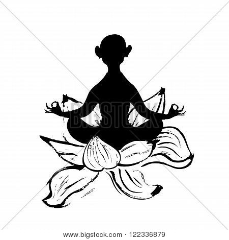 Man sitting in lotus position in lotus flower. Monochrome. Isolated on white background. Stock vector.