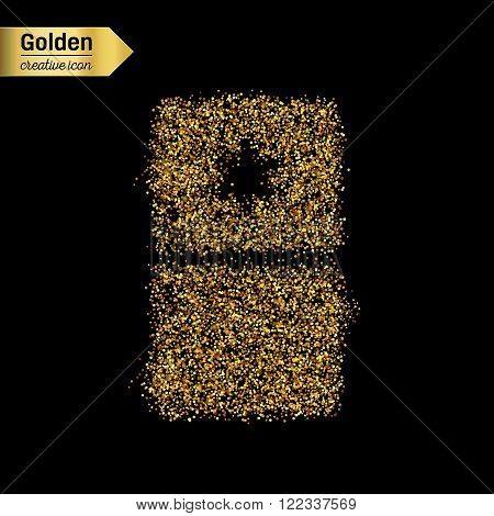Gold glitter vector icon of fridge isolated on background. Art creative concept illustration for web, glow light confetti, bright sequins, sparkle tinsel, abstract bling, shimmer dust, foil.