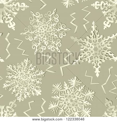 Seamless wallpaper of handmade paper snowflakes with shadows.