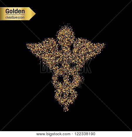 Gold glitter vector icon of caduceus isolated on background. Art creative concept illustration for web, glow light confetti, bright sequins, sparkle tinsel, abstract bling, shimmer dust, foil.