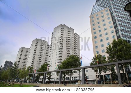 ROTTERDAM, THE NETHERLANDS - 18 AUGUST: Rotterdam is a city modern architecture, Boompjes street from Boompjeskade in Rotterdam, Netherlands on August 18,2015.