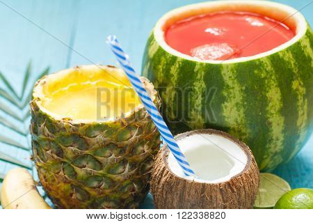 Exotic freshly squeezed juice with pineapple, watermelon and coconut