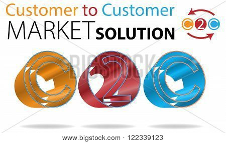 Vector Concept Customer to Customer Market Solution Illustration