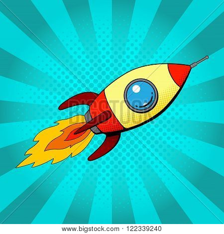 Rocket in retro pop art style. Space rocket in pop art style on a blue background. Vector illustration.