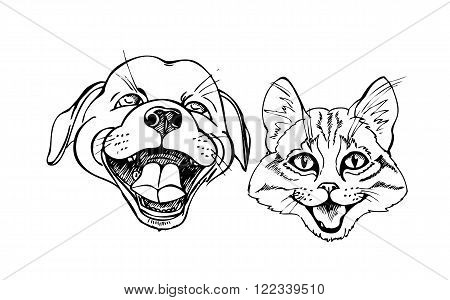 funny kitten and puppy black and white vector illustration