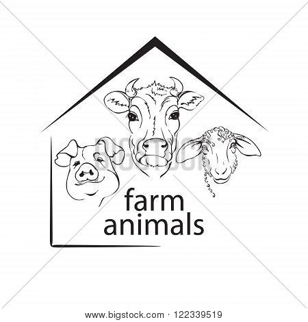 farm animals livestock a cow a pig and a sheep black and white vector illustration