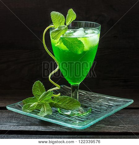 Cocktail with tarragon mint and ice on a glass tray. Selective focus square image