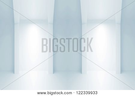 Interior With Light Niches. 3 D Illustration