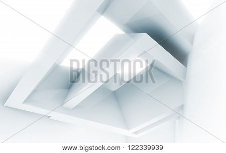 Abstract empty room interior with cubic structures. Architecture background, blue toned 3d illustration