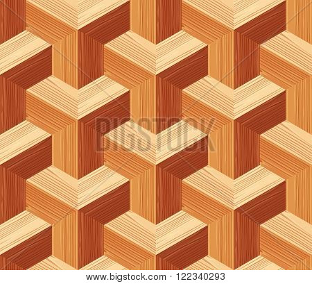 Parquet 3d seamless floor texture. Editable vector pattern in swatches.