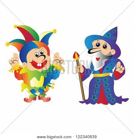 The old wizard Merlin with his staff and the clown in bright clothes with bells pointing hands