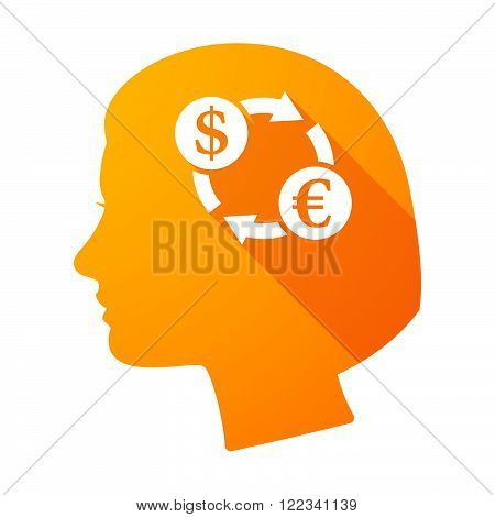 Long Shadow Female Head With A Dollar Euro Exchange Sign