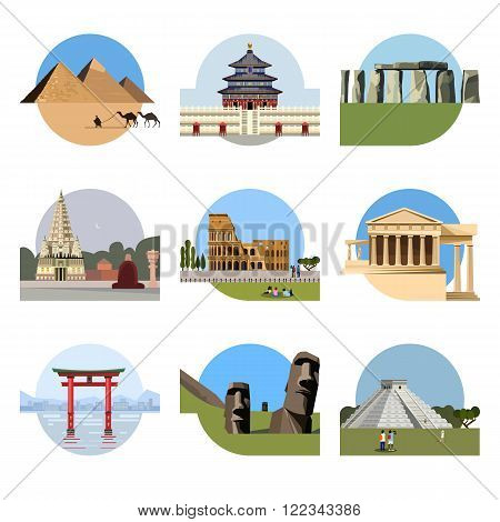 World landmarks flat icon set. Vector travel illustration. Monument sign. Egypt pyramid, Temple of Heaven, Stonehenge, Mahabodhi, Colosseum, Italy Pantheon torii gate Moai Mesoamerican pyramids