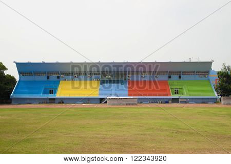 The colorful grandstand in the football stadium