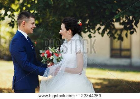 Happy Couple Of Newlyweds, Bride And Groom Holding Hands In Park