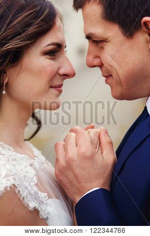 Romantic Sensual Couple Of Newlyweds Holding Hands, Face Closeup