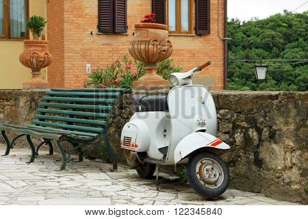 PETROIO (SI) ITALY - JUNE 23, 2009: classic Vespa is one of the products of the industrial design world's most famous and most often used as a symbol of Italian design