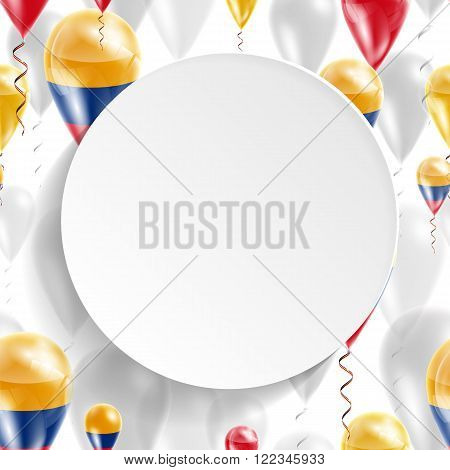 Flag of Colombia. Independence Day. Flag of Micronesia on air balloon. Celebration and gifts. Balloons on the feast of the national day.  Use for brochures, printed materials, signs, elements