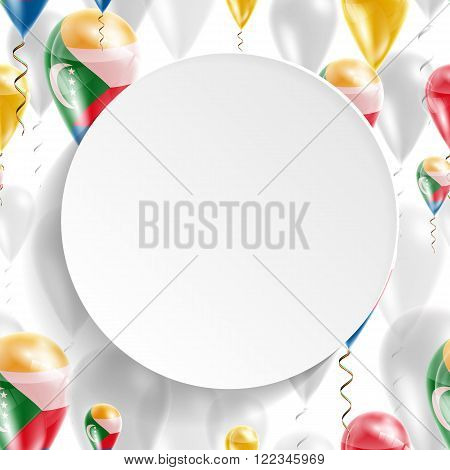 Flag of Comoros. Independence Day. Flag of Micronesia on air balloon. Celebration and gifts. Balloons on the feast of the national day.  Use for brochures, printed materials, signs, elements