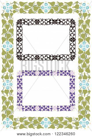 border of leaves and flowers inspired by Ancient Greek ornaments.  with variations.