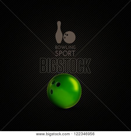 Bowling Bowl On The Dark Background As Vector Design Element