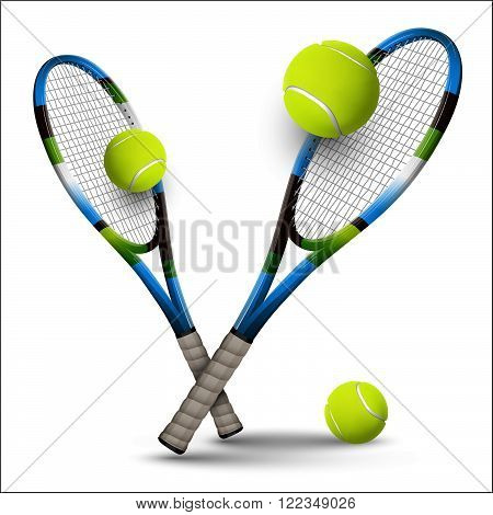 Tennis Symbols Rackets And Balls Isolated On White Background