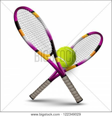 Tennis Symbols Rackets And Ball Isolated On White Background