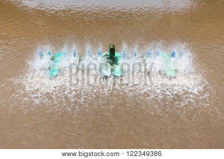Waste water treatment machine spin on dark brown water